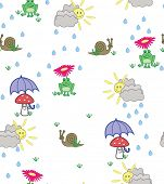 Cute cartoon style illustration of frogs, snails and mushrooms in sunshine and rain - seamless pattern
