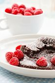 chocolate dessert with raspberries