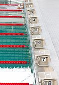 Empty Swimming Pool With Starting Block.