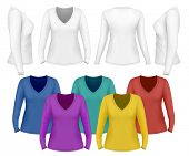 Women's v-neck long sleeve t-shirt . Vector illustration.