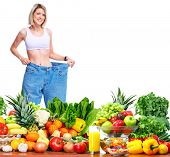 Slim healthy Woman losing weight. Health and diet
