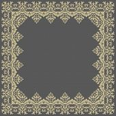 Floral Vector Pattern. Abstract Golden Frame
