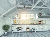 foto of attic  - modern kitchen interior with  island in the attic  - JPG