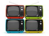 Multicolored retro TV isolated on white background