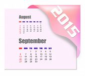 September 2015 calendar with past month series