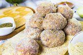 Closeup Meat Balls Ground Beef Rolled Breadcrumbs