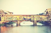 Ponte Vecchio bridge in Florence, Italy. Instagram style filtred image