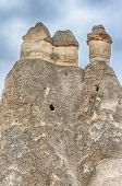 Fairy tale chimney rocks in Pasabg (Monk) Valley in Cappadocia, Turkey
