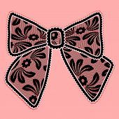 Decorative Black Lacy Bow On Pink Background