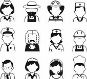 stock photo of avatar  - Avatars of different people professions characters n thin flat style - JPG