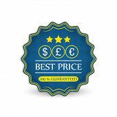 Best price vector label with currency symbol dollar, euro and pound