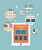 Vector Flat Illustration Of Tablet Pc Content Rendering Page. Ui Applications Optimization And Progr