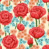 Floral pattern with bright res roses and small pink and blue flowers.