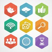 pic of follow-up  - Set of social network icons flat in white silhouette vector illustration - JPG