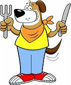 Cartoon hungry dog holding a knife and fork