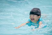 Happy Kid Swimming In The Pool