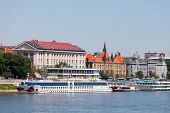 Pier for the tourist and walking ships. Bratislava