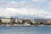 View of elite hotel and Lake Geneva Embankment