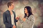 stock photo of sweetheart  - Couple of happy sweethearts in affectionate relationship - JPG