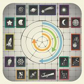 image of astronomy  - 16 infographic elements with graph background including astronomy symbols - JPG