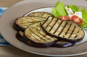 pic of brinjal  - Grilled aubergine with salad leaves and dill - JPG