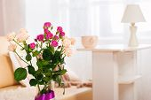 Bouquet of flowers in a room in the interior.
