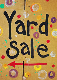 picture of yard sale  - brightly painted color cardboard yard sale sign - JPG