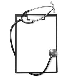 pic of health-care  - close up of stethoscope and clipboard on white background with clipping path - JPG