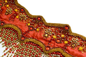 stock photo of belly-dance  - Fragment of a costume for east dance on a white background - JPG