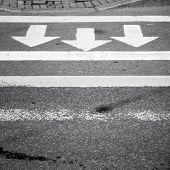 picture of pedestrian crossing  - White arrows and lines on dark gray asphalt road pedestrian crossing road marking - JPG