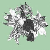 image of toucan  - Floral Vector Vintage Card with Exotic Flowers and Toucan - JPG