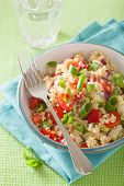 stock photo of chive  - healthy couscous salad with tomato cucumber onion chives - JPG
