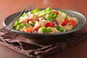 picture of chive  - healthy couscous salad with tomato cucumber onion chives - JPG