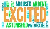 pic of aroused  - Excited word cloud on a white background - JPG