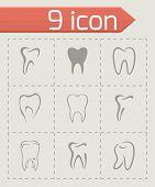 picture of bad teeth  - Vector teeth icon set on grey background - JPG