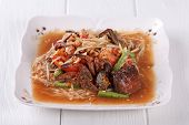 pic of green papaya salad  - Somtum papaya salad delicious food in thailand - JPG