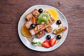 foto of french toast  - French toast and fresh fruit with caramel sauce - JPG