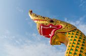 ������, ������: serpent king or king of naga statue in thai temple on blue sky background