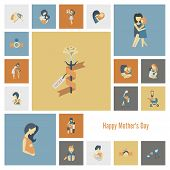 picture of happy day  - Happy Mothers Day Simple Flat Icons - JPG