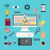 picture of process  - Flat design vector illustration concept of creative process with icons of  designers workspace - JPG