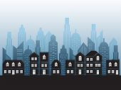 pic of city silhouette  - vector black cities silhouette background  - JPG