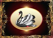 stock photo of black swan  - Elegant black swan with golden ornament and rays - JPG