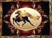 stock photo of galloping horse  - Galloping black horse with golden mane and luxurious ornament - JPG