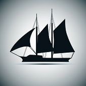 picture of tall ship  - Vector silhouette of ship - JPG