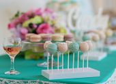 foto of candy  - Cute candy bar with various candies and cakes - JPG
