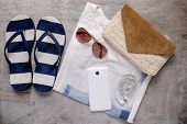 pic of clutch  - summer beach accessories beach slipper clutch shirt sunglasses mobile phone earphones - JPG