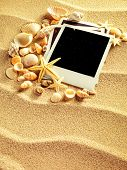 stock photo of beach shell art  - Old style empty photo cards lying on a sea sand and framed with shells - JPG