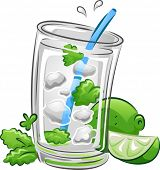 pic of mint leaf  - Illustration of a Mojito Drink with Lime and Mint Leaves - JPG