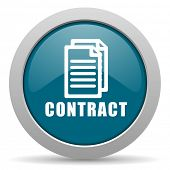 stock photo of contract  - contract blue glossy web icon