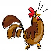 picture of roosters  - Cartoon chicken rooster bird in a naif doodle childish drawing isolated in white background - JPG
